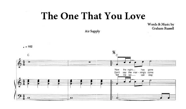 The One That You Love Air Supply Pdf Free Piano Sheet