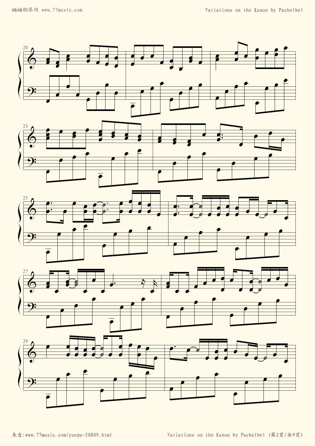 Variations on the Canon - Johann Pachelbel - Flash Sheet